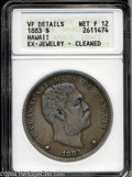 Coins of Hawaii: , 1883 $1 Hawaii Dollar--Ex Jewelry, Cleaned--ANACS. VF ...