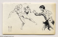 Original Comic Art:Sketches, Frank Frazetta - Trio of Figures Sketch Original Art (undated). This pen and ink sketch is in Very Good condition and its p...