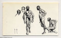 Original Comic Art:Sketches, Frank Frazetta - African Figure Studies Sketch Original Art (undated). These ink studies are incredibly detailed, delineating ...