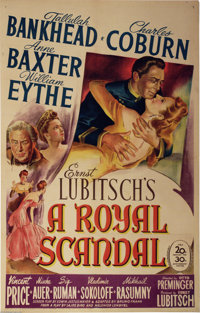 "Royal Scandal, A (20th Century Fox, 1945). One Sheet (27"" X 41""). Tallulah Bankhead stars as Catherine the Gre..."