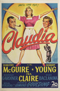 "Movie Posters:Comedy, Claudia (20th Century Fox, 1943). One Sheet (27"" X 41""). Magicon-screen chemistry between Robert Young and Dorothy Mc Guire..."