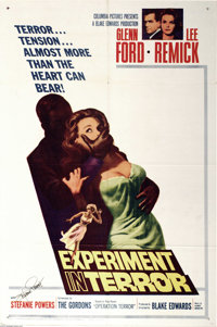 "Experiment in Terror (Columbia, 1962). One Sheet (27"" X 41""). Blake Edwards directed this mystery/terror film..."