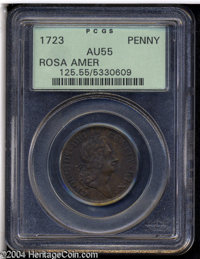 1723 PENNY Rosa Americana Penny AU55 PCGS. Breen-122, No stop after Small 3. The chocolate-brown fields complement the m...