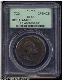 1723 2PENCE Rosa Americana Twopence XF45 PCGS. Breen-92. Stop after REX, no stop after 1723. A richly detailed piece wit...