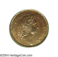 1723 1/2P Hibernia Halfpenny MS65 Red and Brown PCGS. No pellet before H, Large 3. Breen-155. Orange color illuminates t...
