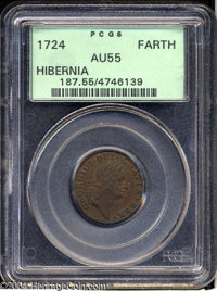 1724 FARTH Hibernia Farthing AU55 PCGS. Breen-177. No stop after date. Breen states in his Encyclopedia that this issue...