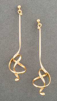 A Pair of Georg Jensen Forget Me Knot 18K Gold Earrings Designed by Vivianna Toru