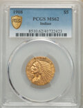 Indian Half Eagles, 1908 $5 MS62 PCGS. PCGS Population: (1975/2378 and 33/136+). NGC Census: (2717/1923 and 10/49+). CDN: $760 Whsle. Bid for N...