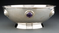 A William Spratling Silver Punch Bowl with Amethyst Cabochons, Taxco, Mexico, 1942-1946 Marks: SPRATLING, MADE