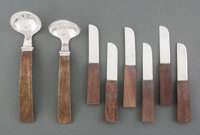 A Set of Six William Spratling Silver and Wood Butter Knives and Two Ladles,Taxco, Mexico Marks: (SPRATLING, MADE IN MEX...