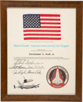 Explorers:Space Exploration, Space Shuttle Enterprise (ALT) Flown American Flag on Presentation Certificate to Chris Kraft, Directly from this ...
