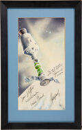 Explorers:Space Exploration, Apollo-Soyuz Test Project Crews-Signed Color Lithograph in Framed Display Directly from the Estate of NASA Legend Chris Kraft,...