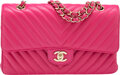"""Luxury Accessories:Bags, Chanel Pink Chevron Quilted Lambskin Leather Medium Double Flap Bag with Light Gold Hardware . Condition: 4. 10"""" Width..."""