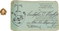 Explorers:Space Exploration, Dr. Kraft's Personal Interstellar Association of Turtles Membership Card and Lapel Pin, Directly from the NASA Legend's Estate... (Total: 2 )