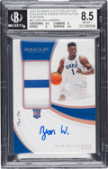 Basketball Cards:Singles (1980-Now), 2019 Immaculate Collection Zion Williamson (Collegiate Rookie Patch Autos) #81 BGS NM-MT+ 8.5, Auto 10 - #'d 1/1! ...