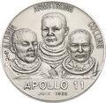 Explorers:Space Exploration, Apollo 11: Large Silver Commemorative Medallion, Directly from the Estate of NASA Legend Chris Kraft, with Certificate of Auth...