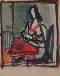 Franz Kline (1910-1962) Seated Woman Watercolor on postcard 6 x 4-3/4 inches (15.2 x 12.1 cm)