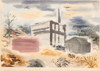 George Grosz (1893-1959) Bayside, Long Island, 1934 Watercolor, brush, reed pen and ink on paper laid on board 19-1/8