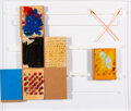 Paintings, Oscar Murillo (b. 1986). game play #10, 2014. Oil and oil stick on newsprint, tape and cardboard on artist's Perspex tra...