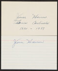 Autographs:Index Cards, Jesse Haines Signed Index Cards, Lot of 2.... (Total: 2 items)