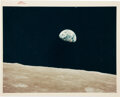 """Explorers:Space Exploration, Apollo 8: """"Earthrise"""" Original NASA """"Red Number"""" Color Photo, AS8-14-2383. ..."""