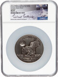 Explorers:Space Exploration, Apollo 11 Robbins Medallion Restrike, MS70 NGC, Five Ounces of Silver containing Flown Metal, One of Thirty-Five Signed by Mic...