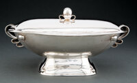A William Spratling Silver Rectangular Tureen with Cover, Taxco, Mexico, mid-20th century Marks: WS SPRATLING