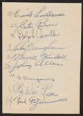Autographs:Others, Early 1940s Brooklyn Dodgers Multi-Signed Album Page. ...