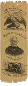 Political:Ribbons & Badges, Zachary Taylor: Quite Simply the Premier silk Campaign Ribbon for This Tough 1848 Candidate. ...
