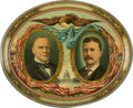 Political:3D & Other Display (1896-present), McKinley & Roosevelt: Large Oval Jugate Lithographed Tin Tray. ...