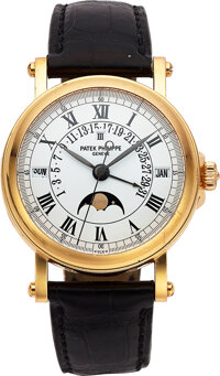 Patek Philippe, Fine Pink Gold Wristwatch With Perpetual Calendar, Moon Phase And Retrograde Date, Ref. 5059R-001, circa...