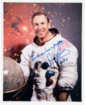 Explorers:Space Exploration, James Lovell Signed Apollo 13 White Spacesuit Color Photo with Added Famous Quote....