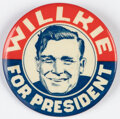 """Political:Pinback Buttons (1896-present), Wendell Willkie: Smiling """"Sketch"""" Picture Pin...."""