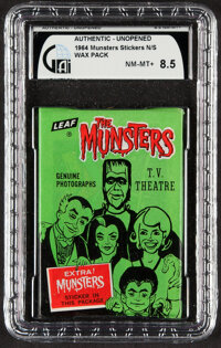 "1964 Leaf ""The Munsters"" Unopened Wax Pack GAI NM-MT+ 8.5"