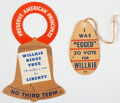 """Political:Small Paper (1896-present), Wendell Willkie: Two Unusual """"Hangers"""". ... (Total: 2 Items)"""
