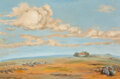 Paintings, Jessie Palmer (American, 1882-1956). House in the Panhandle. Oil on canvas. 20 x 30 inches (50.8 x 7...