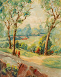Paintings, Jessie Palmer (American, 1882-1956). Trees in Spring. Oil on canvasboard. 20 x 16 inches (50.8 x 40.6 cm). Signed lower ...