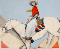 Donna Howell-Sickles (American, 1949) Horse Back Cowgirl, 1985 Mixed media on canvas 48 x 59 inch
