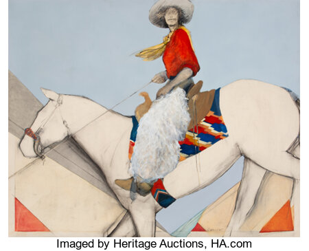 Donna Howell-Sickles (American, 1949) Horse Back Cowgirl, 1985 Mixed media on canvas 48 x 59 inches (121.9 x 149.9 cm...
