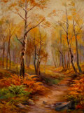 Paintings, Loraine Digings (American, 1902-1995). An Autumn Path. Oil on canvas. 24 x 18 inches (61.0 x 45.7 cm). Signed lower left...