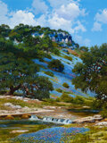 Paintings, William A. Slaughter (American, 1923-2003). Clouded Bluffs. Oil on canvas. 40 x 30 inches (101.6 x 7...