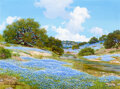 Paintings, William A. Slaughter (American, 1923-2003). Riverbank Lined with Blue. Oil on canvas. 18 x 24 inches...