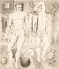 Prints & Multiples, Kelly Fearing (American, 1918-2011). The Lifters, 1944. Etching on paper laid on paper. 6-7/8 x 6 inches (17.5 x 15.2 cm...