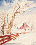 Paintings, Eugene Bonfanti Thurston (American, 1896-1993). Early Snow-Ruidoso, New Mexico, 1960. Watercolor and pencil on paper. 13...