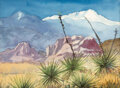 Works on Paper, Eugene Bonfanti Thurston (American, 1896-1993). Garden of the Gods and Pikes Peak. Watercolor and pencil on paper. 9 x 1...
