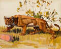 Paintings, Fred Darge (American, 1900-1978). Panther. Oil on canvas. 7-5/8 x 9-5/8 inches (19.4 x 24.4 cm). Signed lower right: F...
