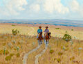 Paintings, Fred Darge (American, 1900-1978). Two Riders. Oil on canvasboard. 9 x 12 inches (22.9 x 30.5 cm). Signed lower right: ...