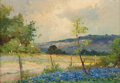 Paintings, Robert William Wood (American, 1889-1979). Bluebonnets. Oil on canvas. 9 x 12 inches (22.9 x 30.5 cm...