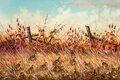 Paintings, J.W. Thrasher (American, b. 1940). Quail. Oil on canvas. 24 x 36 inches (61.0 x 91.4 cm). Signed lower left: J.W. Thra...
