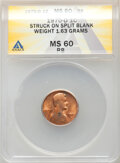 Errors, 1970-D 1C Lincoln Cent -- Struck on Split Planchet -- MS60 Red and Brown ANACS. (1.63 grams).. From The Don Bonser Erro...